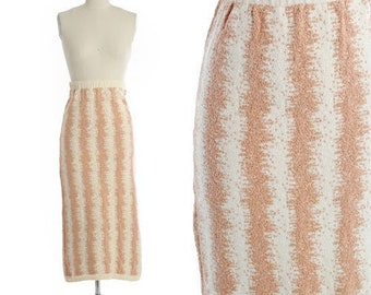 BABO Knit pencil skirt | Vintage 90s abstract knit cotton skirt |  Hand-loomed long knit skirt