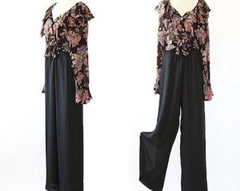 Liz Claiborne wide leg pants | Vintage 90s Black high waist chiffon palazzo pants