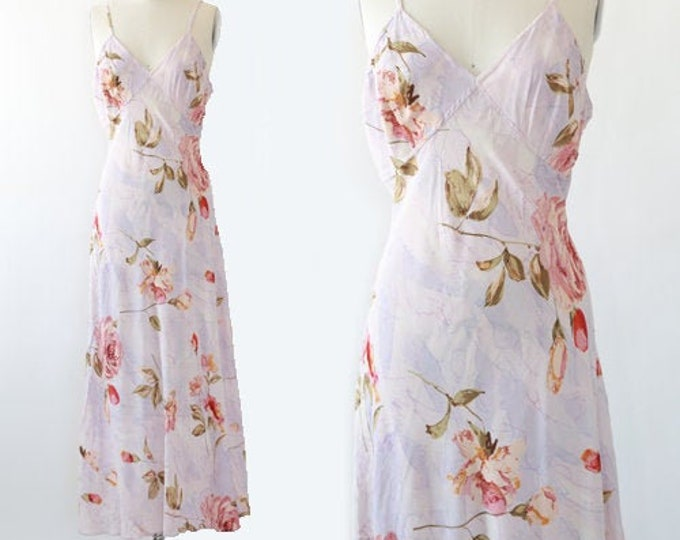 Rose maxi dress | Vintage 90s water color floral rose maxi dress L