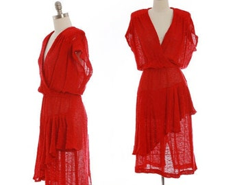 Crochet salsa dress | Vintage 70s red crochet knit dress | 1970s crochet ruffle dress