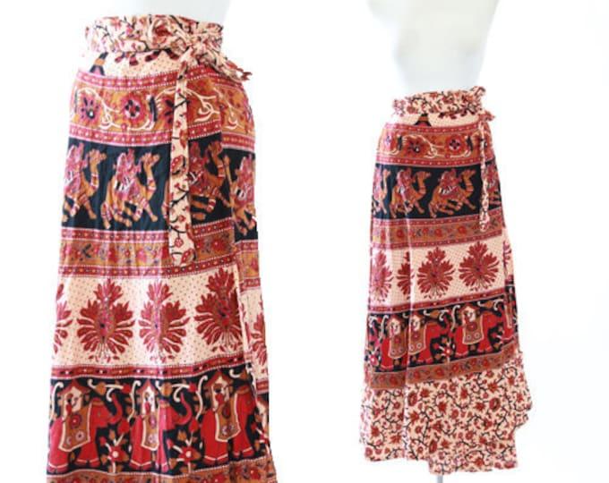 Indian wrap cotton skirt | vintage 70s Indian maxi wrap skirt | Indian Block Print