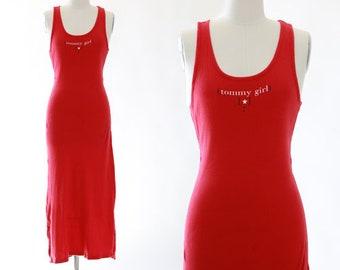 Vintage Tommy Hilfiger Tommy Girl logo razor back tank maxi dress M L