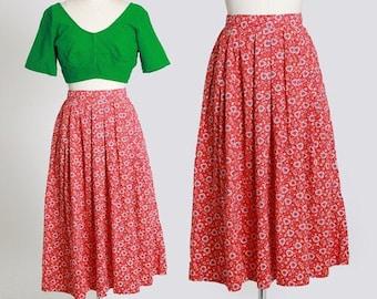 50s novelty print skirt | Vintage 50s novelty heart print skirt | 1950s cotton skirt