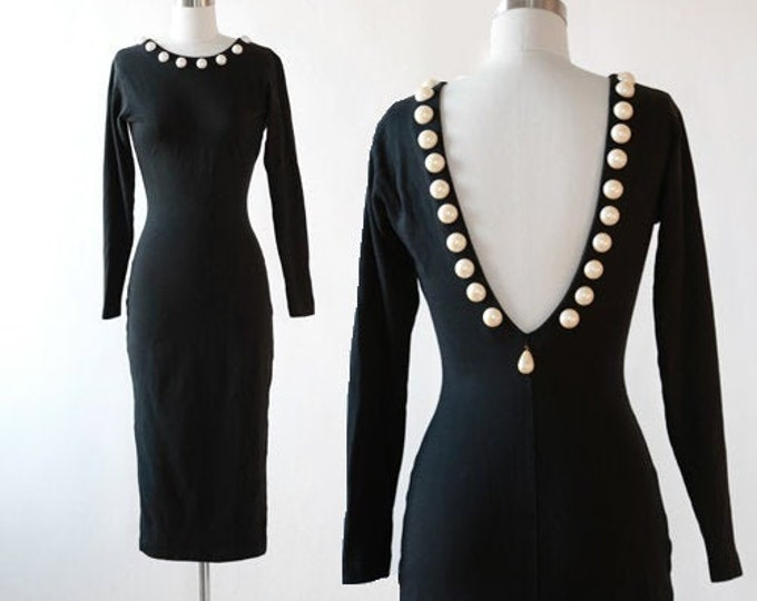 Pearl wiggle dress | Vintage 80s Black low back bodycon Dress | Studded iridescent pearl dress