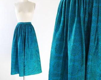 50s silk skirt | Vintage 50s floral high waist skirt