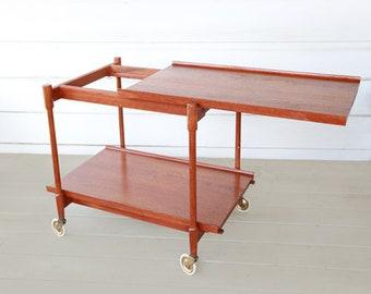 Poul Hundevad bar cart   Vintage Mid Century Modern Teak wood rolling serving cart   Expandable tea cart