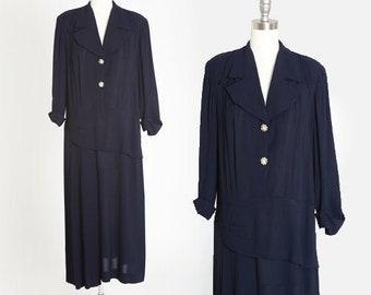 Radiant Exclusive dress | Vintage 40s navy blue crepe dress | 1940s drop waist dress Large