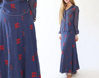 Country 2pc set | Vintage 70s floral embroidered country 2pc dress skirt | Blue + red polka dot floral set