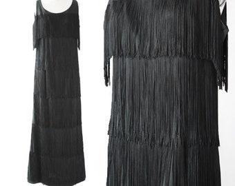 SALE! Flapper maxi dress | Vintage 60s 20s fringe maxi dress