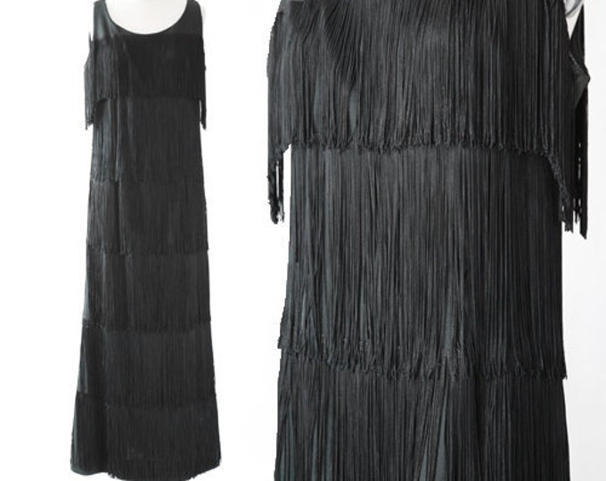 Flapper maxi dress | Vintage 60s 20s fringe maxi dress