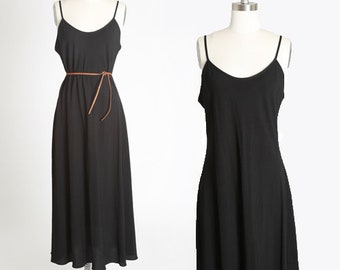 90s black rayon dress