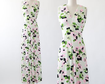 Vintage 70s abstract maxi dress