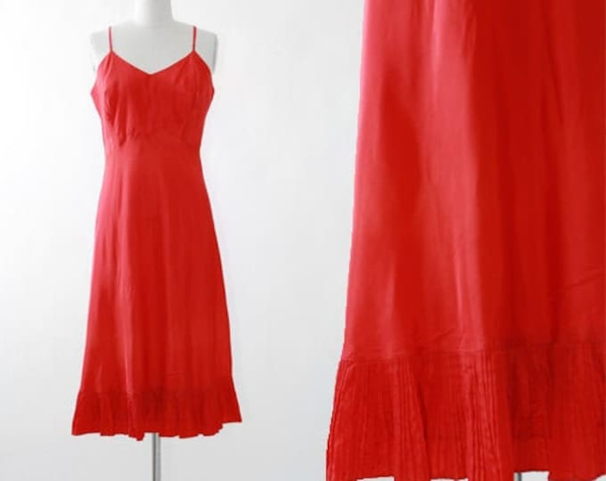 Wearpruf red slip | Vintage 40s bias cut slip dress | 1940s ruffle slip dress nightie lingerie