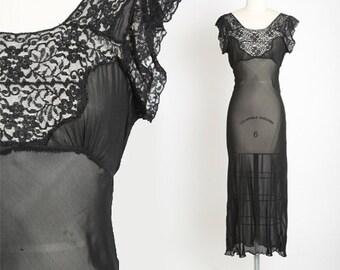 Bias cut slip dress | Vintage 40s black silk lace slip dress | 1940s sheer lace lingerie slip dress