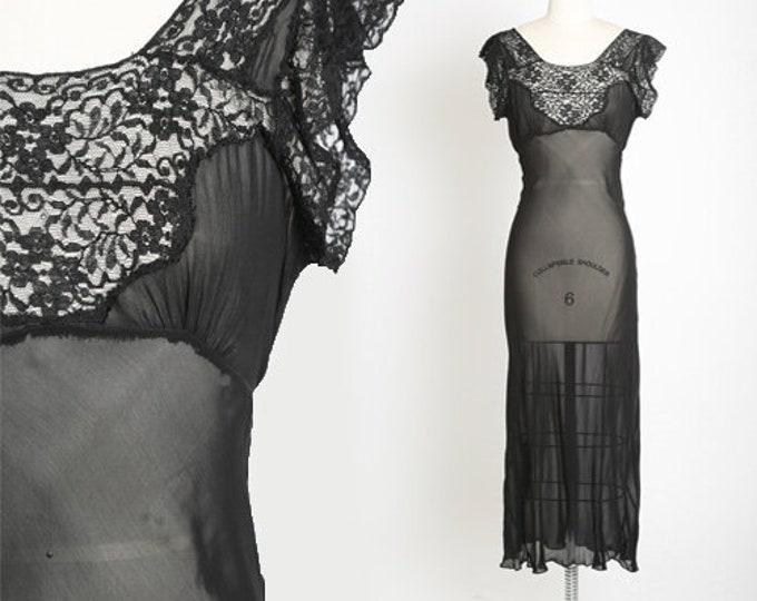 Featured listing image: Bias cut slip dress | Vintage 40s black silk lace slip dress | 1940s sheer lace lingerie slip dress