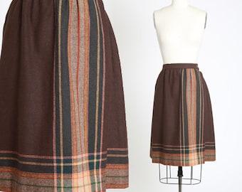 Bobbie Brooks wool skirt | Vintage 70s brown striped wrap skirt | 1970s fall wool skirt