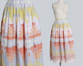 Vintage Lauren Ralph Navajo pastel southwest cotton skirt