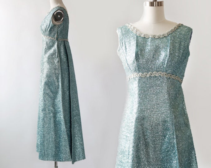 Tinsel maxi dress   Vintage 60s metallic blue tinsel dress   60s sequin tinsel dress