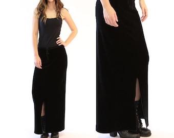 Velvet maxi skirt | Vintage 90s black velvet maxi skirt | grunge skirt
