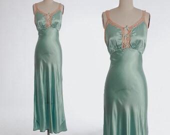 Bias cut slip dress | Vintage 40s blue satin lace slip dress | 1940s liquid satin lingerie slip dress