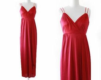 Cranberry maxi dress | Vintage 70s wrap skirt maxi dress XS