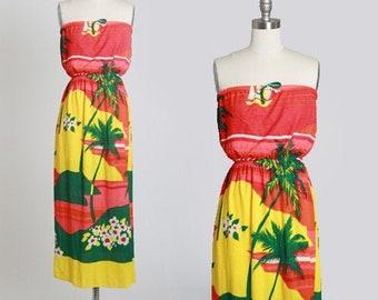 Hawaiian terry cloth dress | Vintage 70s tropical Hawaiian palm tree maxi dress | 1970s tube top dress