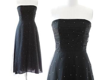 Vintage 90s Scott McClintock Dress | black jeweled tulle party dress Sz. 10