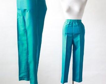 iridescent silk capris | Vintage 50s 60s peddle pushers slacks pants S