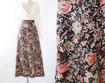 Floral bird maxi skirt | vintage 70s high waist floral skirt
