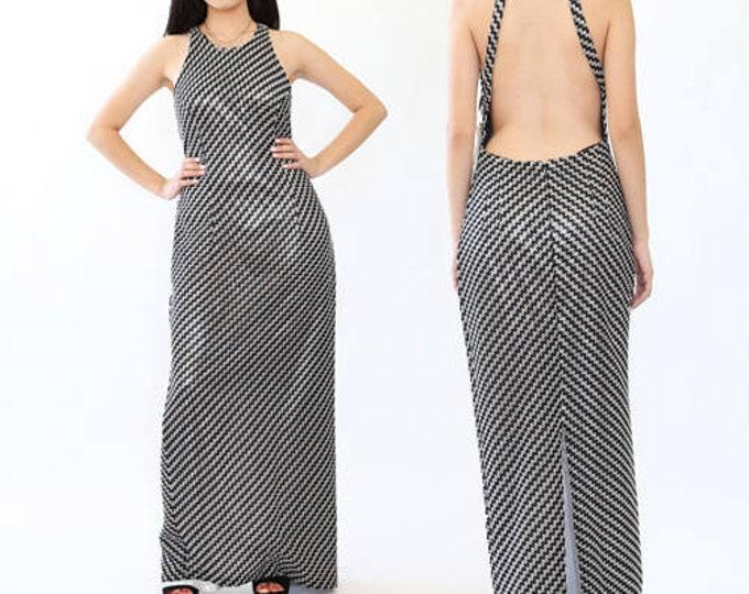 Crochet maxi dress | Vintage 90s backless high neck maxi