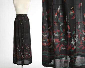Leaf maxi skirt | vintage 70s high waist floral leaf skirt | 1970s deadstock semi sheer skirt