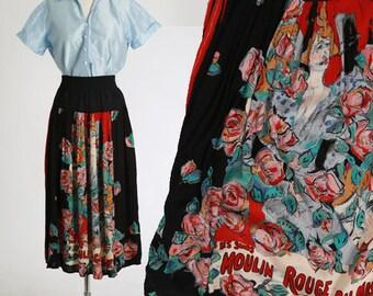 Moulin Rouge skirt | Vintage 90s Carole Little rayon skirt | 1990s floral Moulin Rouge midi skirt