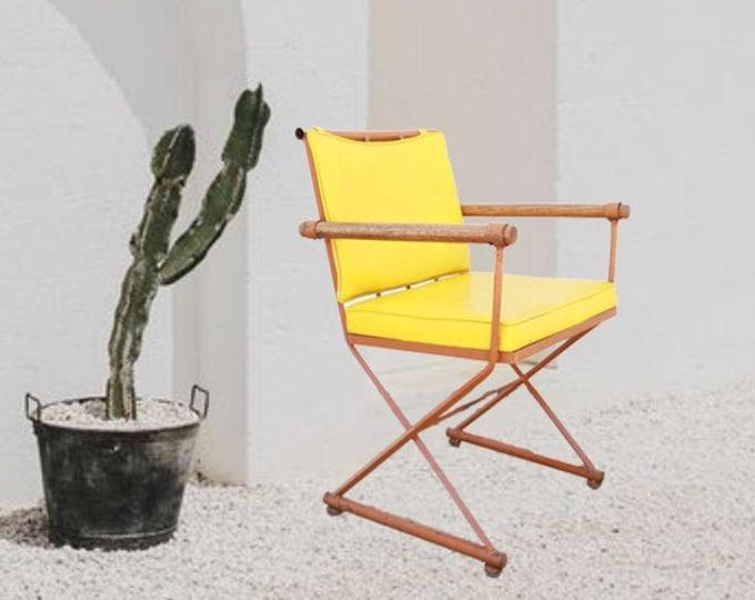 Cleo Baldon style patio chair | Vintage Mid Century Modern Cleo Baldon woodard California iron + wood chair | outdoor chair