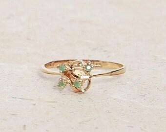 Vintage 14K gold plated emerald ring