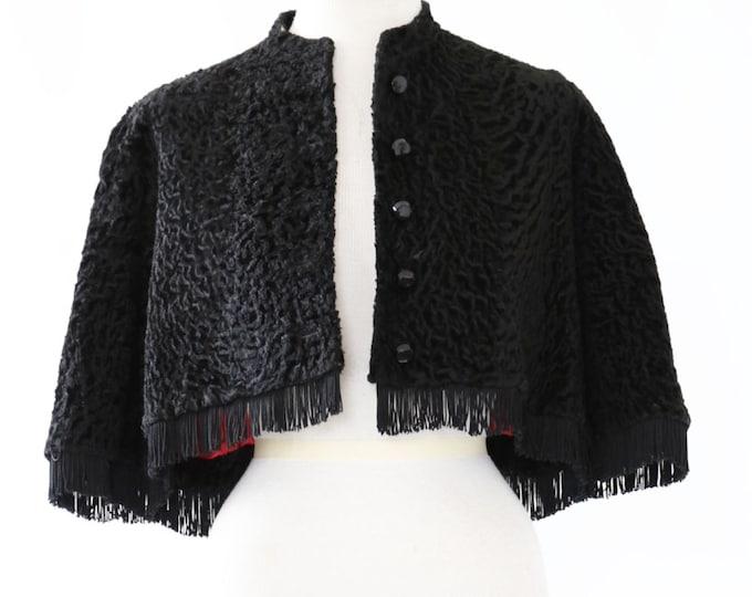 Curly Lamb cape | Antique Vintage 1900s 1910 Hattie Carnegie coat | curly Persian Lamb fringe cape | Wedding cape