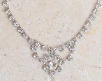 Riviere Paste Necklace | Antique vintage Edwardian jeweled paste 12K white gold filed choker | Edwardian paste necklace