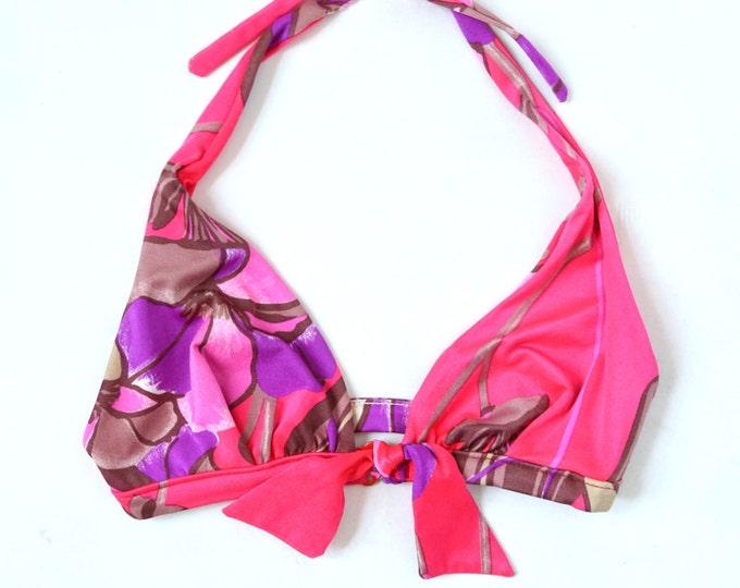 Vtg 60s bikini Jantzen neon PINK floral purple bow bikini top swimsuit bathing suit