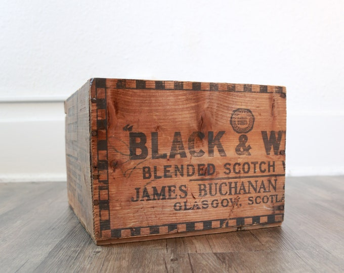 Antique Vintage Black & White Scottish Whiskey Wood Crate James Buchanan Glasgow