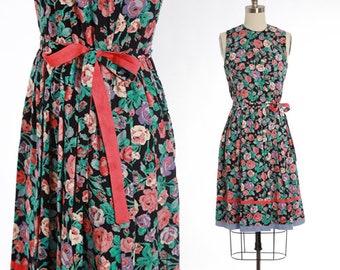 Bella France botanical midi dress | Vintage 90s floral rayon dress | | 1990s Fane Schaffhausen tank dress