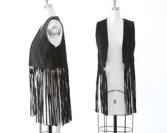 Vintage 70s black suede leather vest | Boho Fringe Vest | Festival leather fringe vest