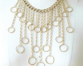 70s gold chain bib necklace
