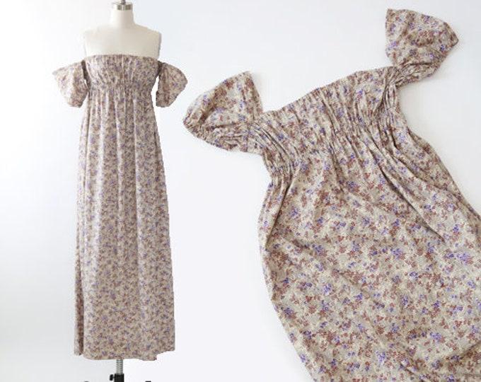 Off the shoulder dress | Vintage 70s floral cotton maxi dress | Size Large