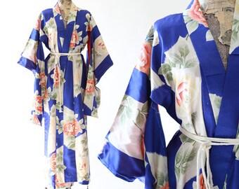 Rose Kimono   Antique silk Japanese KIMONO   wedding coat Jacket Robe   floral silk kimono