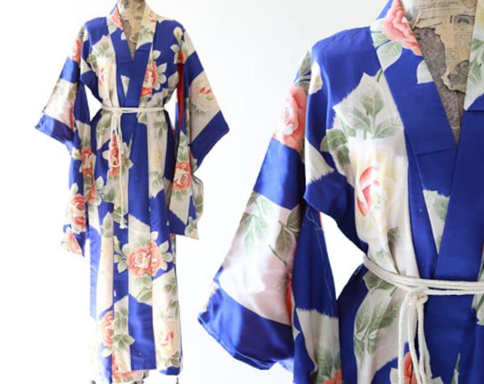 Rose Kimono | Antique silk Japanese KIMONO | wedding coat Jacket Robe | floral silk kimono