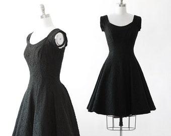 Lace Circle dress | Vintage 50s black floral lace dress | 1950s full skirt mini dress