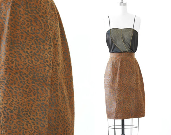 Winlit leopard print skirt | Vintage 80s 90s leather leopard print skirt | Leather high waist skirt
