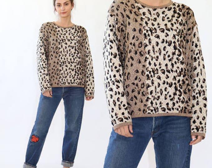 Leopard sweater | Vintage beaded GOLD Leopard print KNIT sweater
