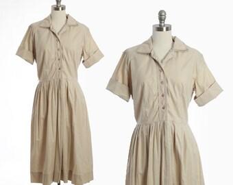 50s cotton safari khaki day dress M