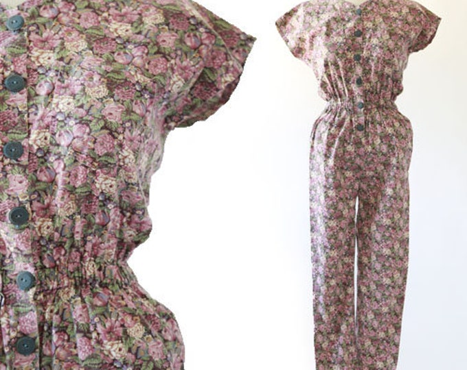 Botanical jumpsuit | Vintage 80s floral cotton jumpsuit