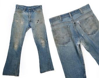 Best patchwork 546 levis | Vintage 60s 70s 546 Levis flare bells jeans W34 L30